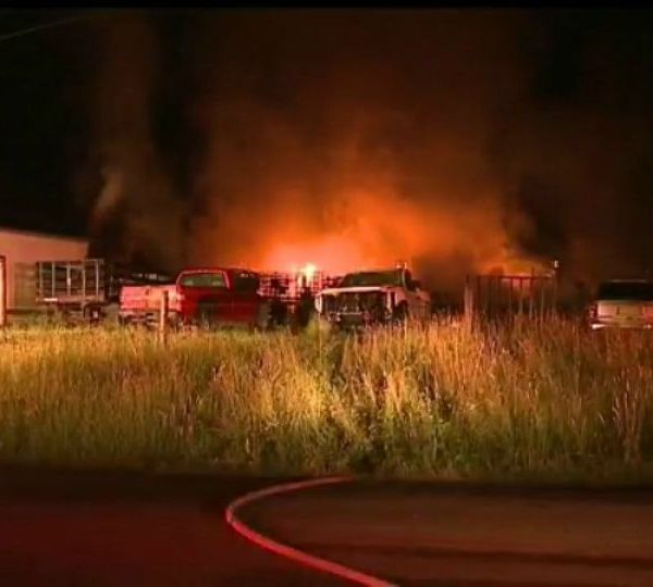 Crews are working in Mercer County Friday to control a fire at a business in Liberty Township.