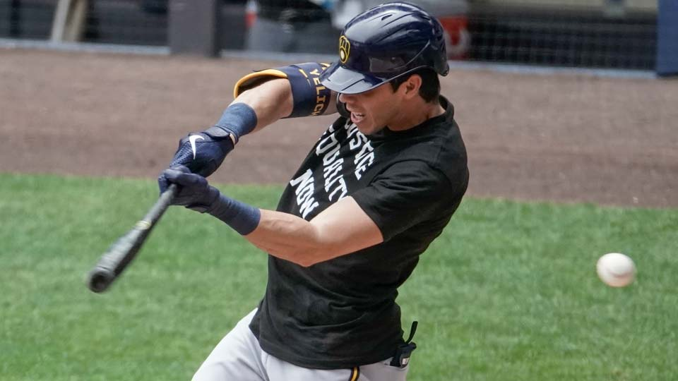 Milwaukee Brewers' Christian Yelich strikes out