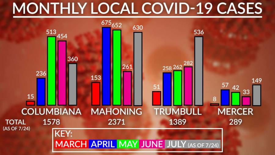 Monthly Local Covid-19 Cases Chart, July 31