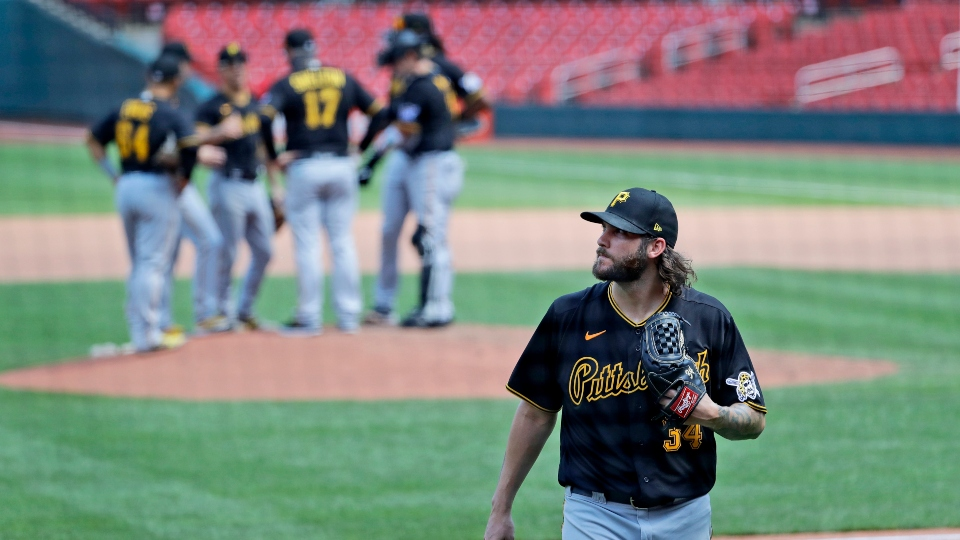Pittsburgh Pirates starting pitcher Trevor Williams walks off the field after being removed during the fourth inning of a baseball game against the St. Louis Cardinals Saturday, July 25, 2020, in St. Louis.