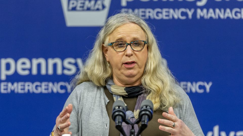 FILE - In this May 29, 2020, file photo, Pennsylvania Secretary of Health Dr. Rachel Levine, meets with the media at The Pennsylvania Emergency Management Agency (PEMA) headquarters in Harrisburg, Pa.