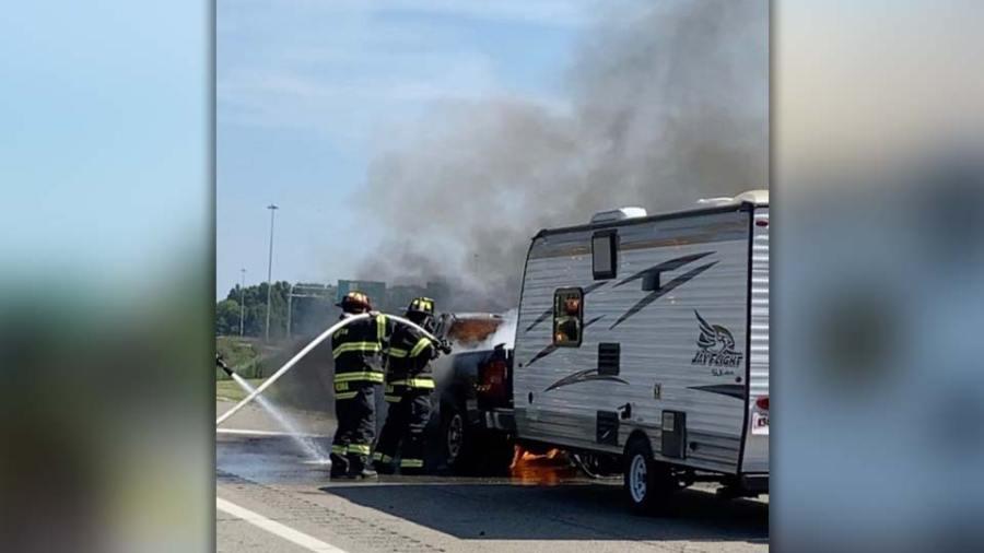 Truck on fire, July 3 (2)