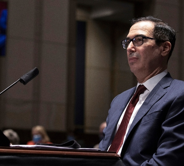 In this June 30, 2020 file photo, Treasury Secretary Steven Mnuchin testifies during a House Financial Services Committee hearing on the coronavirus response on Capitol Hill in Washington.