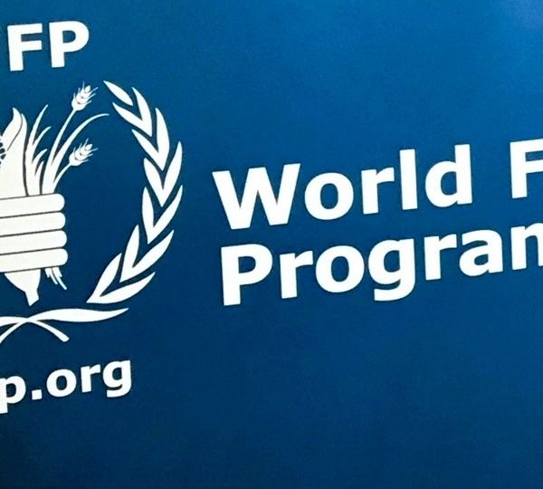 In this Nov. 6, 2017 file photo, the U.N. World Food Program's logo is seen at the agency's headquarters in New York.