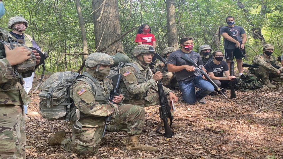 Members of YSU's ROTC program practiced battlefield tactics at McGuffey Wildlife Preserve.
