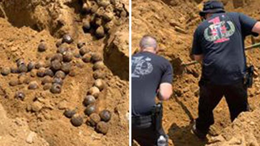 Pittsburgh Police Bomb Squad when he recognized what his machinery had hit; a cache of Civil War era cannonballs (2)