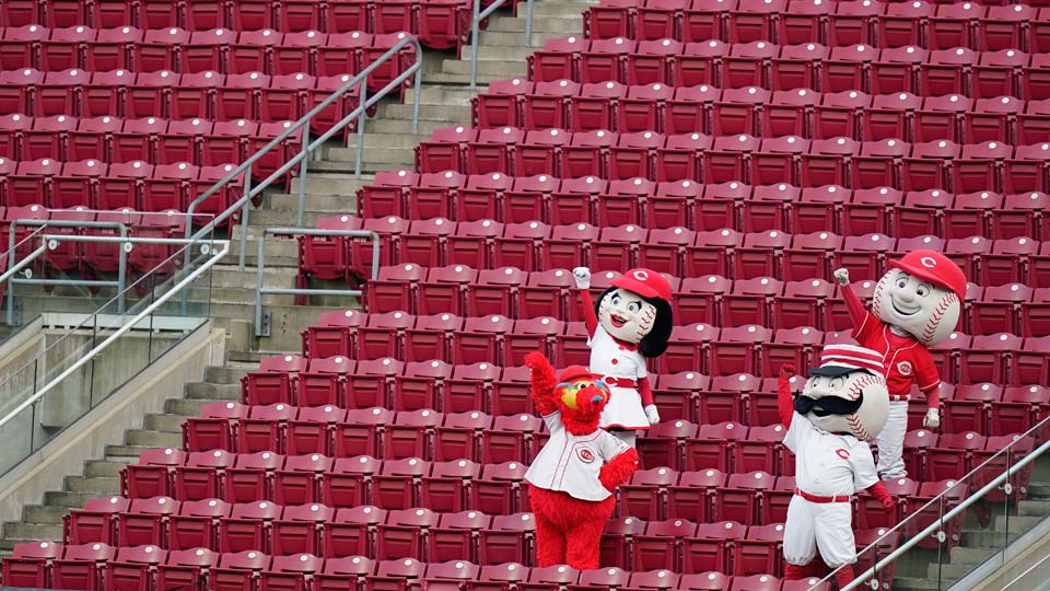 Cincinnati Reds mascots cheer from the outfield during a baseball game against the Pittsburgh Pirates at Great American Ballpark in Cincinnati, Thursday, Aug. 13, 2020