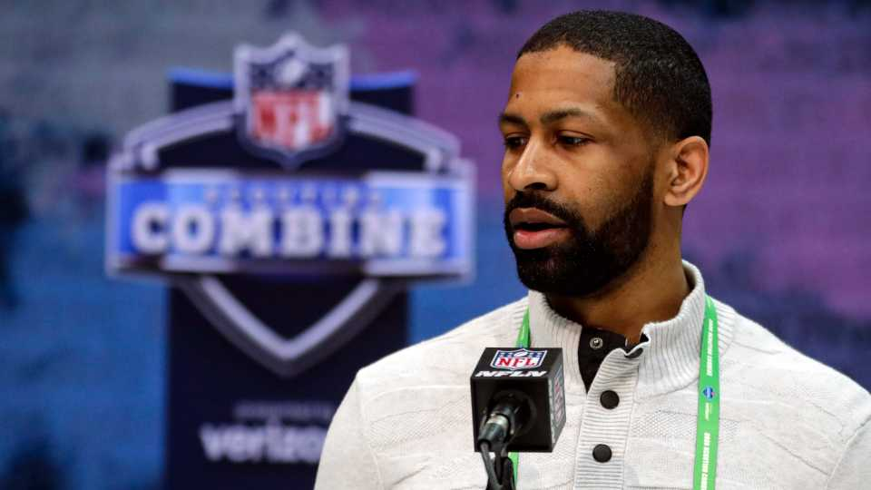 In this Feb. 25, 2020, file photo, Cleveland Browns general manager Andrew Berry speaks during a press conference at the NFL football scouting combine in Indianapolis. Berry said Tuesday that star receiver Odell Beckham Jr. has been fully committed to reporting to the team's facility.