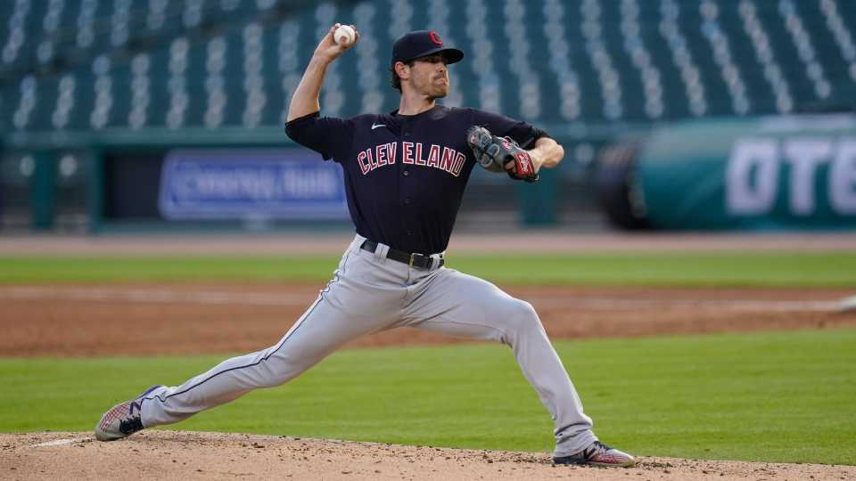 Cleveland Indians pitcher Shane Bieber throws against the Detroit Tigers in the third fourth inning of a baseball game in Detroit, Saturday, Aug. 15, 2020.