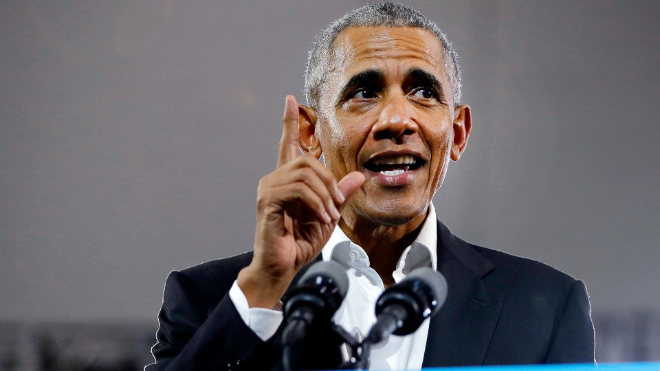 In this Nov. 8, 2018 file photo, former President Barack Obama steps on stage to speak during a campaign rally for Georgia gubernatorial candidate Stacey Abrams at Morehouse College in Atlanta.