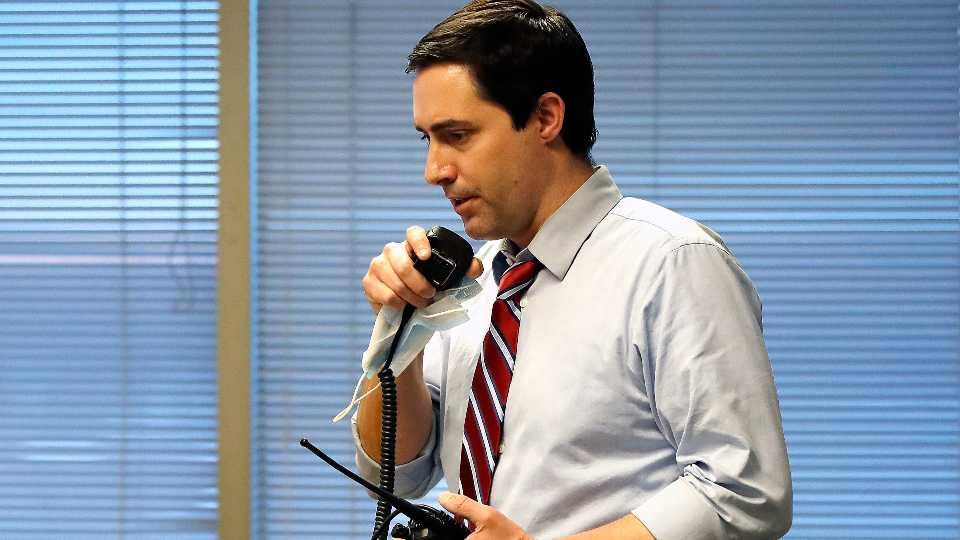 Ohio Secretary of State Frank LaRose, overseeing the Election Night Reporting Center in Columbus, Ohio, calls for the closing of the polls in the Ohio primary election, Tuesday, April 28, 2020.