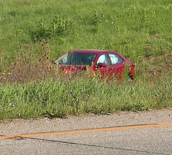 A crash Monday on Interstate 80 in Youngstown sent a car off the highway into a grassy area.