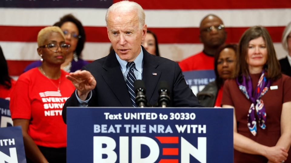 In this file photo from March 10, 2020, Democratic presidential candidate, former Vice President Joe Biden speaks at a campaign event in Columbus, Ohio.