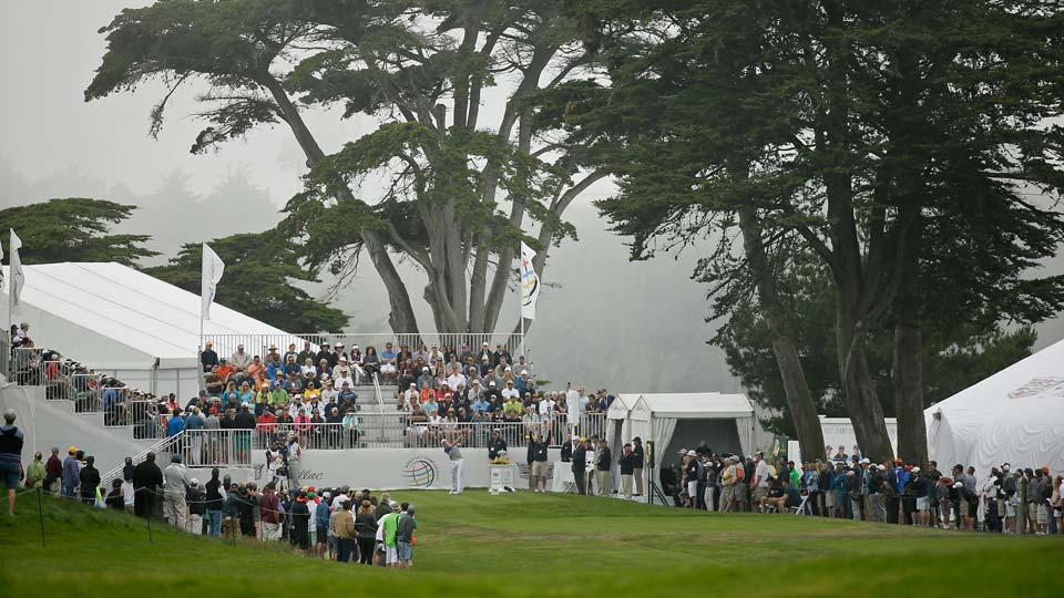 Jordan Spieth hits from the first tee of TPC Harding Park
