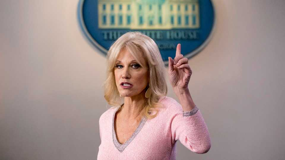 In this Dec. 5, 2019, file photo, Kellyanne Conway speaks in the Briefing Room at the White House in Washington. Conway, one of President Donald Trump's most influential and longest serving advisers, announced Sunday, Aug. 23, 2020, that she would be leaving the White House at the end of the month.Conway, who was Trump's campaign manager during the stretch run of the 2016 race, was the first woman to successfully steer a White House bid before becoming a senior counselor to the president. She informed Trump of her decision in the Oval Office.