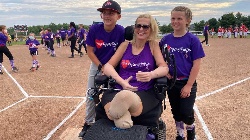 The community continues to rally behind a Poland woman who lost both of her arms and legs following flu complications.