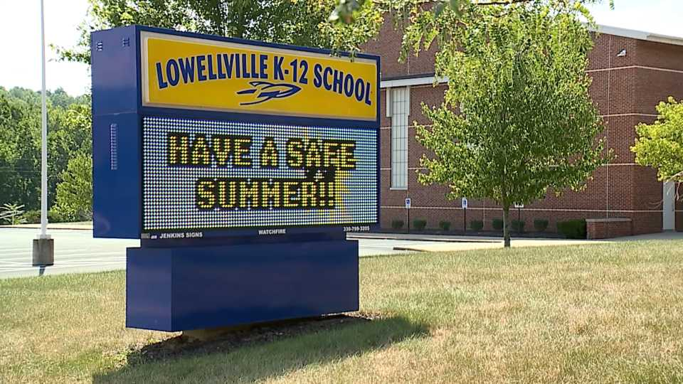 Lowellville School marquee