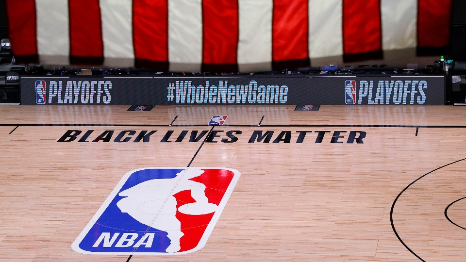 An empty court and bench are shown following the scheduled start time of Game 5 of an NBA basketball first-round playoff series, Wednesday, Aug. 26, 2020, in Lake Buena Vista, Fla.