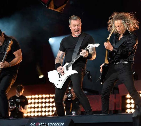 Robert Trujillo, left, James Hetfield, center, and Kirk Hammett of Metallica perform at the Global Citizen Festival in New York