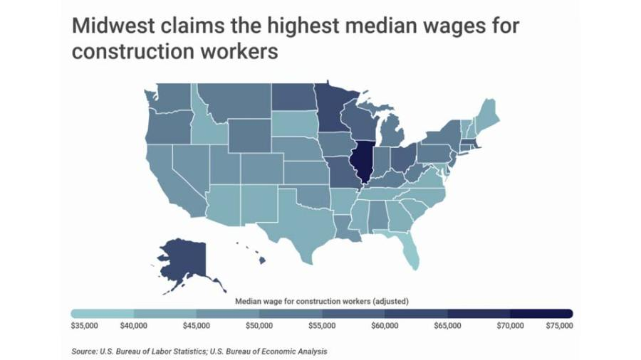 Metropolitan areas are the best-paying for construction workers, graph