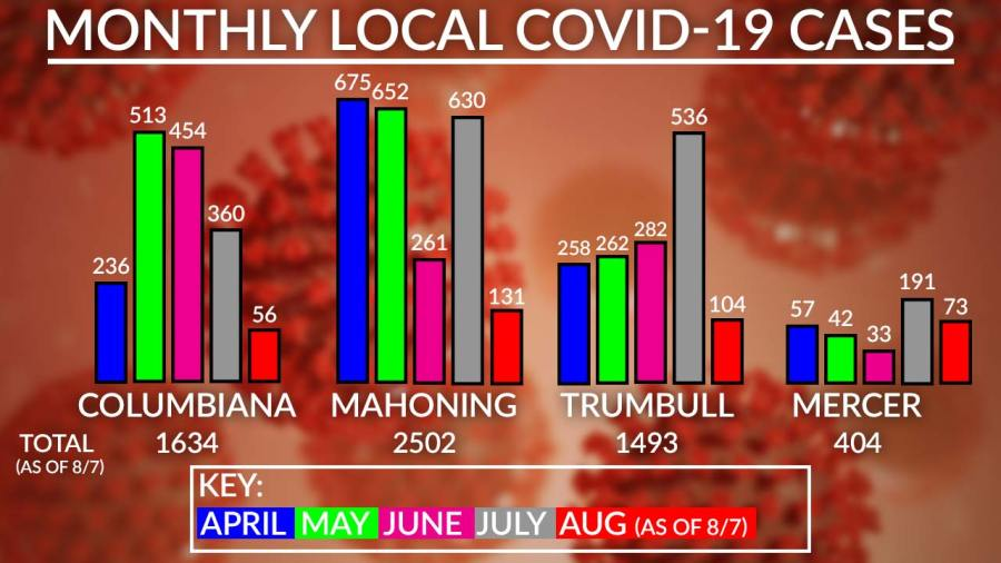 Monthly Local Covid-19 Cases Chart, August 7