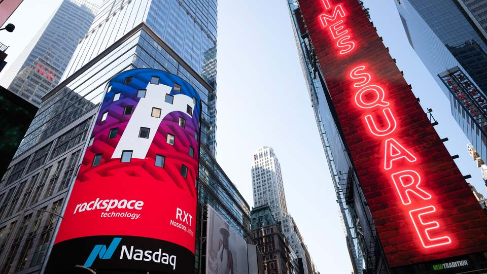 Cloud computing company Rackspace begins trading at the Nasdaq following its initial public offering, Wednesday, Aug. 5, 2020, in New York's Times Square
