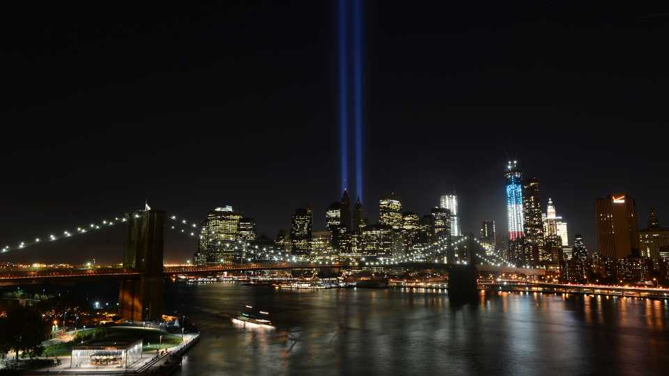 In this Sept. 11, 2012 file photo, The Tribute in Light lights up lower Manhattan in New York. Plans are back on to beam twin columns of light into the Manhattan sky to represent the World Trade Center during next month's anniversary of the 9/11 terror attacks. The Tunnel to Towers Foundation announced Friday, Aug. 14, 2020, that it is working on plans to shine the twin beams during its alternative 9/11 ceremony.