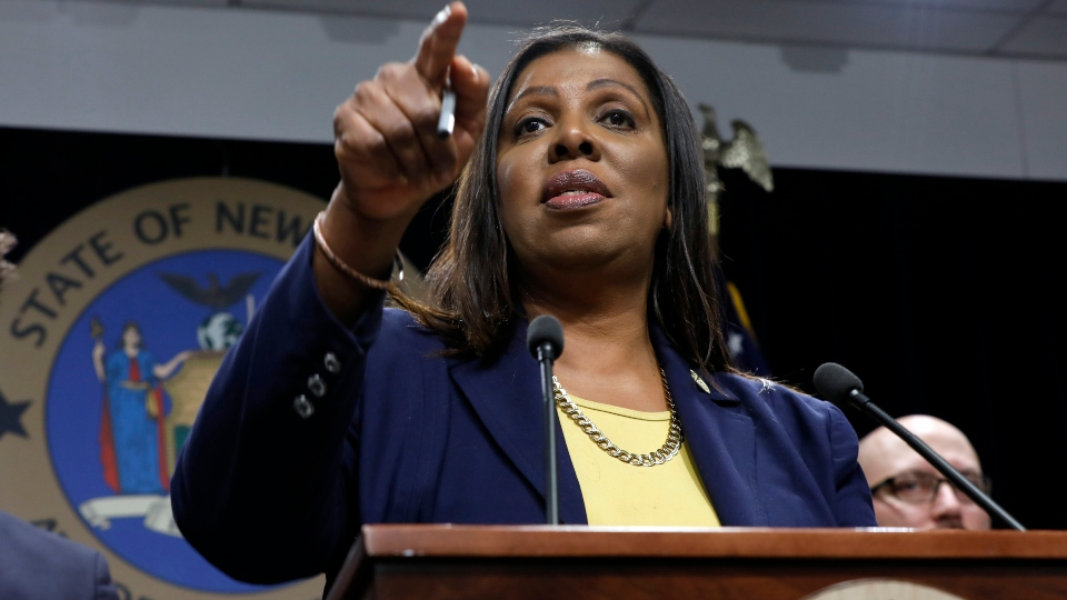 In this Nov. 19, 2019 file photo, New York State Attorney General Letitia James speaks during a news conference at her office in New York.