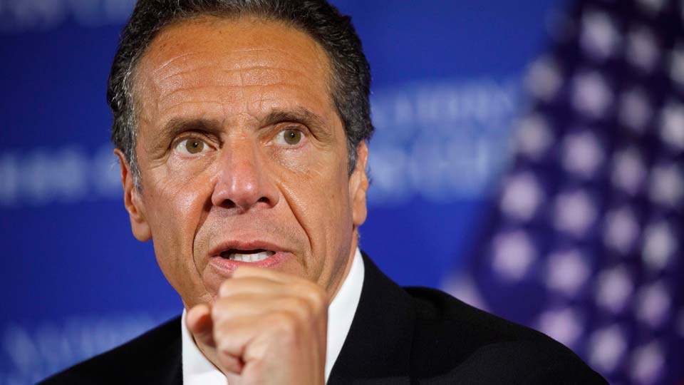 New York Gov. Andrew Cuomo speaks during a news conference at the National Press Club in Washington