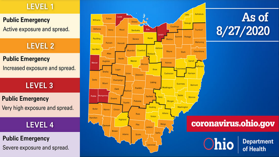 Ohio Down To 6 Red Counties Trumbull Drops To Orange Wkbn Com