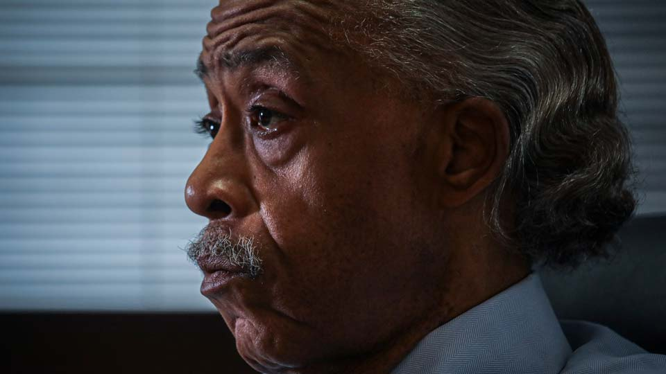 The Rev. Al Sharpton listens during an interview at his office, Thursday, July 30, 2020, in New York.