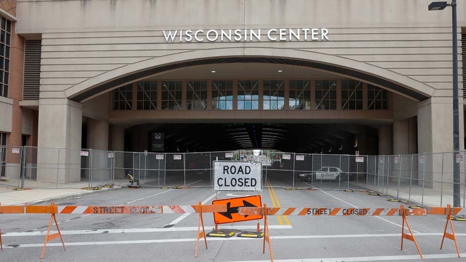 In this Aug. 5, 2020, file photo, The Wisconsin Center in Milwaukee