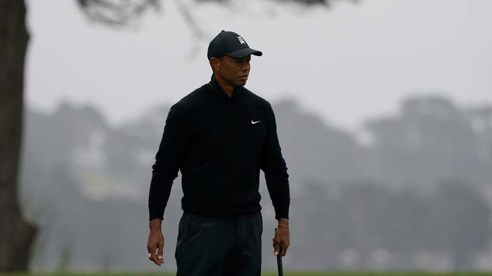 Tiger Woods walks on the 16th hold during a practice round for the PGA Championship golf tournament at TPC Harding Park Wednesday, Aug. 5, 2020, in San Francisco