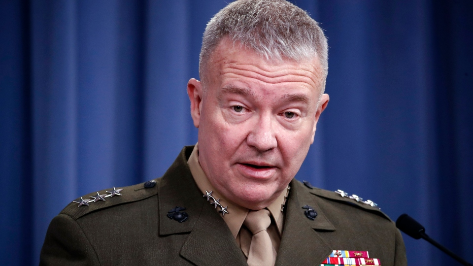 "In this April1 14, 2018, file photo, then-Marine Lt. Gen. Kenneth ""Frank"" McKenzie speaks during a media availability at the Pentagon in Washington."
