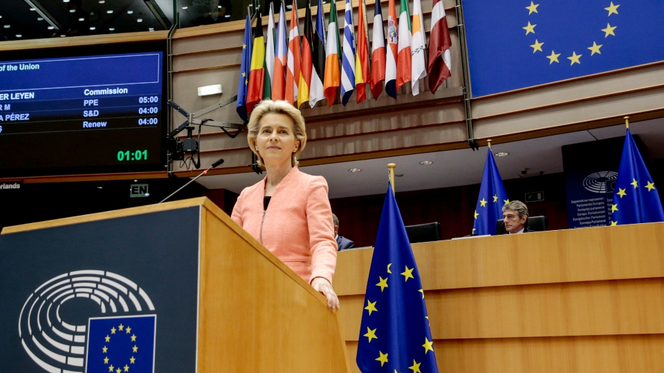 European Commission President Ursula von der Leyen addresses the plenary during her first State of the Union speech at the European Parliament in Brussels, Wednesday, Sept. 16, 2020.