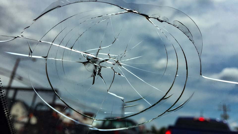 Cracked windshield, truck, car, crash
