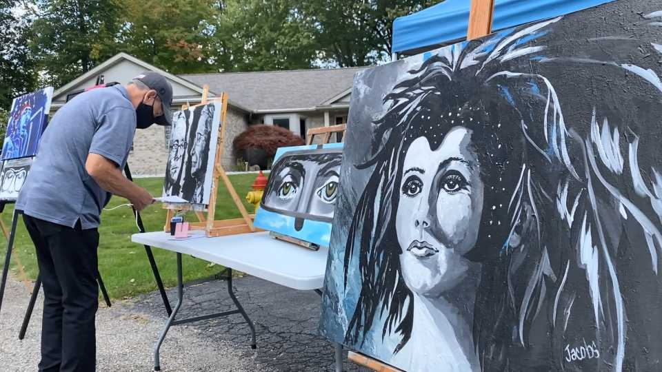 Drive by art exhibit in Cortland