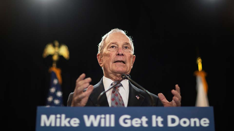 Then-Democratic presidential candidate and former New York City Mayor Michael Bloomberg