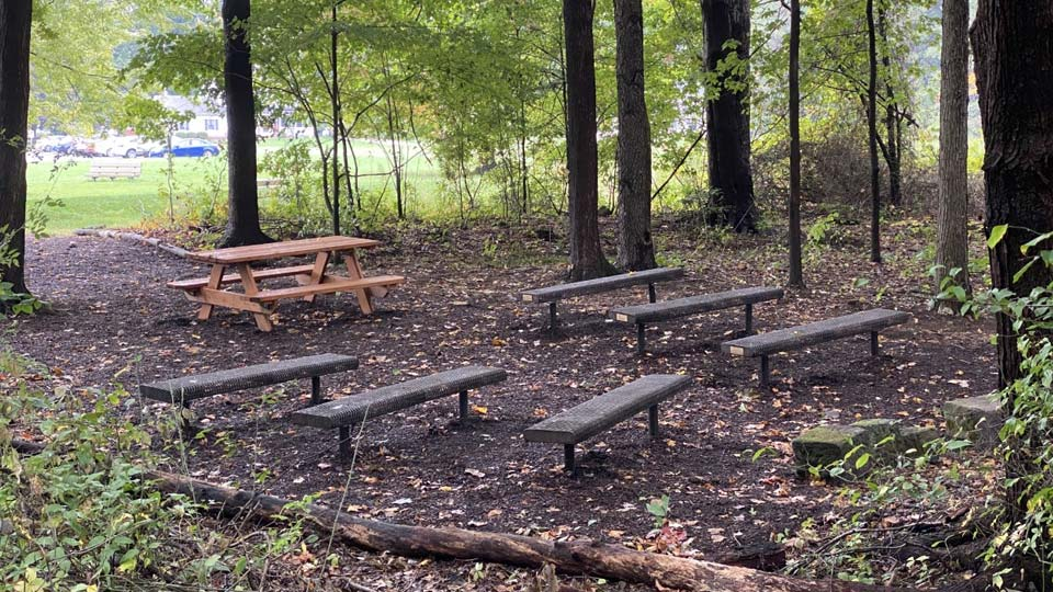 Part of Hilltop Elementary's outdoor classroom project that includes trails, bridges and tire obstacles.