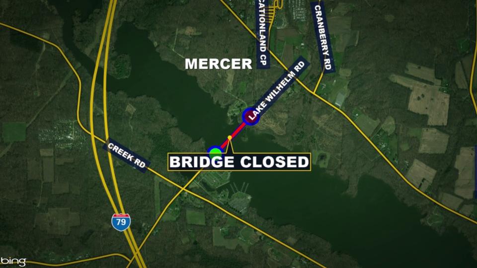Lake Wilhelm Bridge in Mercer County closed for work