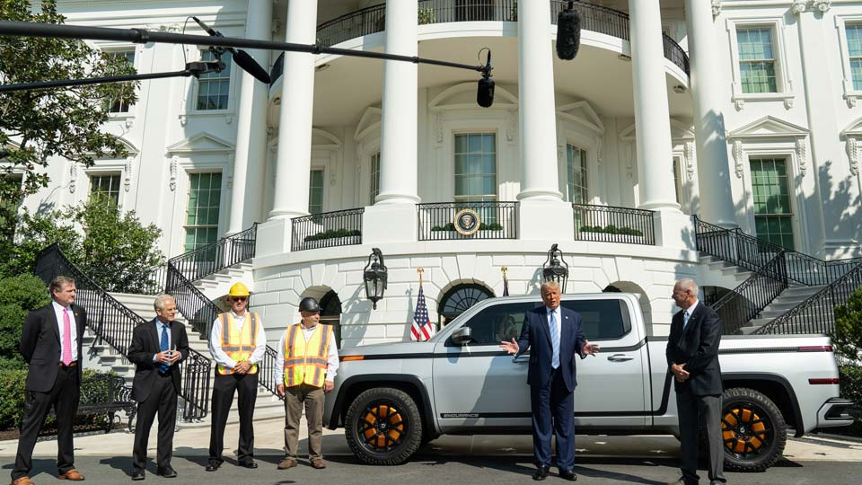 President Donald J. Trump speaks with members of the press after touring a Lordstown Motors 2021 Endurance Monday, Sept. 28, 2020, on the South Lawn of the White House.