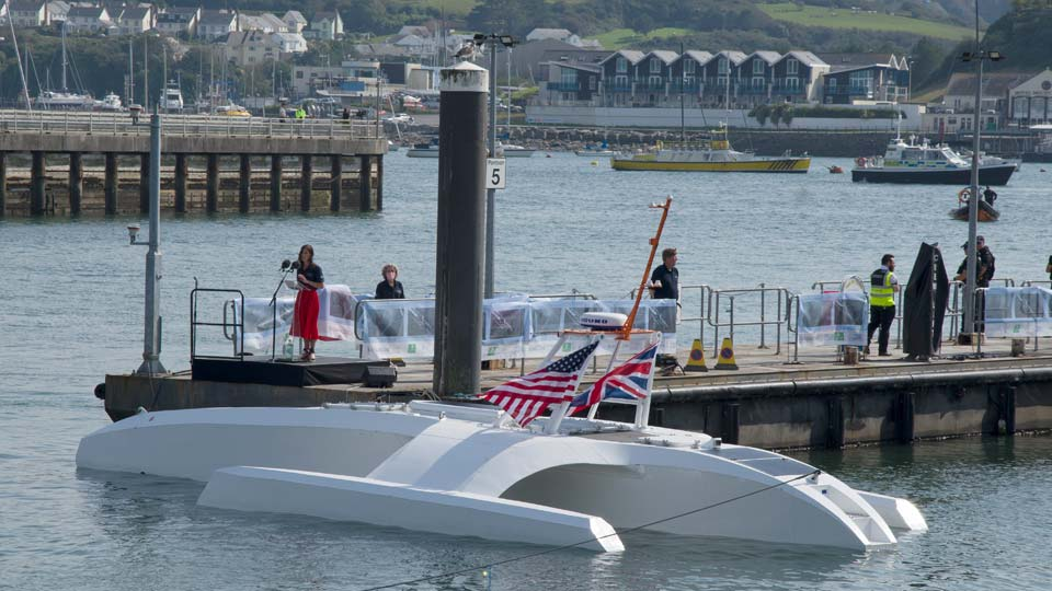 The Mayflower Autonomous Ship during a special ceremony to mark its launch in Plymouth south west England, Wednesday, Sept. 16, 2020