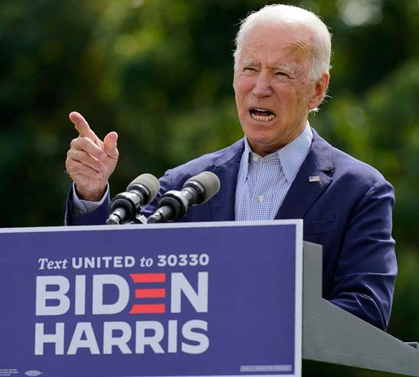 Democratic presidential candidate and former Vice President Joe Biden speaks about climate change and wildfires affecting western states, Monday, Sept. 14, 2020