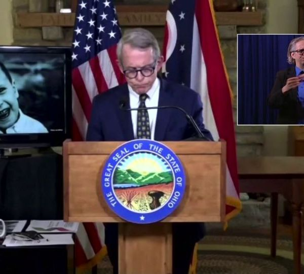 With the picture of 4-year-old Rowan Sweeney in a monitor behind him, Ohio Governor Mike DeWine started Tuesday's coronavirus briefing with a call for gun reform.