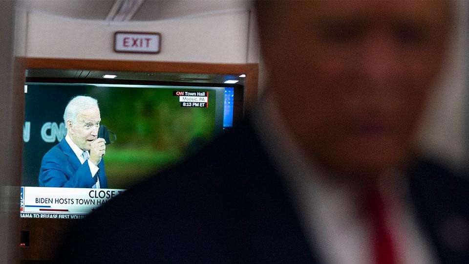 Trump, Biden TV screen