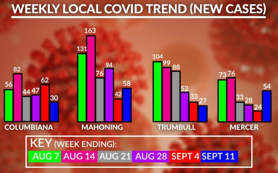 Weekly Local Covid-19 Cases Chart, September 14