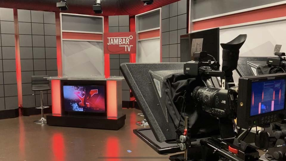 Inside the studio of JambarTV, YSU's student-run television station