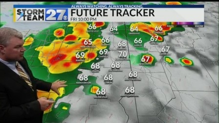 Near record highs to a line of showers and storms in the forecast