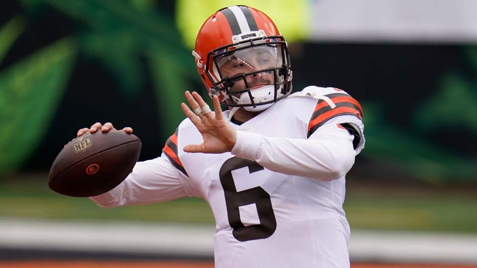 Cleveland Browns quarterback Baker Mayfield throws before an NFL football game against the Cincinnati Bengals