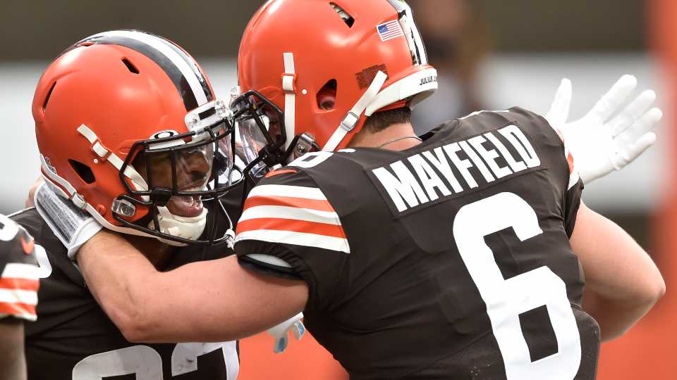 Cleveland Browns wide receiver Rashard Higgins (82) and quarterback Baker Mayfield celebrate after a 15-yard touchdown by Higgins during the first half of an NFL football game against the Indianapolis Colts, Sunday, Oct. 11, 2020, in Cleveland.